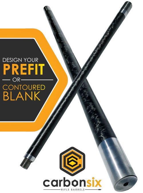 Carbon Six Custom Prefit or Contoured Blank Carbon Fiber Rifle Barrel